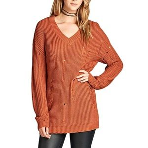 Rust Copper Distressed Holly Knit Boho Sweater